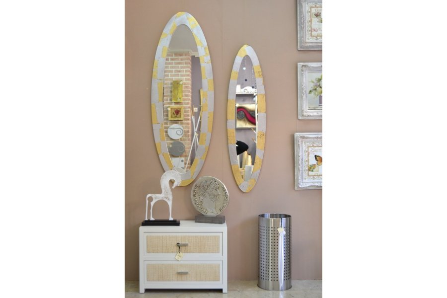 Espejos marco ovalado oro y plata for Espejo ovalado plata