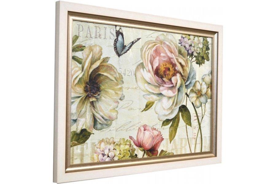 Cuadro rosas y mariposas marco blanco emilio rubio - Cuadros y marcos ...
