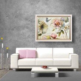 Cuadro Rosas y mariposas Marco Blanco