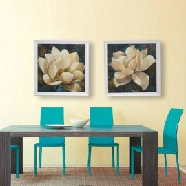 Gardenia y Magnolia en fondo turquesa