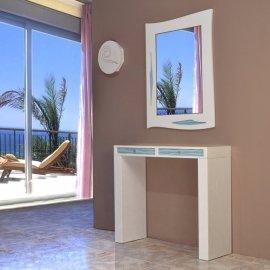 Mueble y Espejo Recibidor blanco y Turquesa