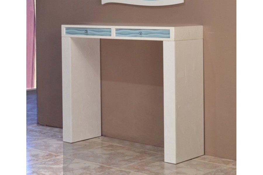 Mueble recibidor blanco y azul turquesa emilio rubio for Espejo recibidor blanco