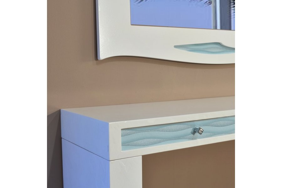 Mueble y espejo recibidor blanco y turquesa emilio rubio - Mueble recibidor blanco ...