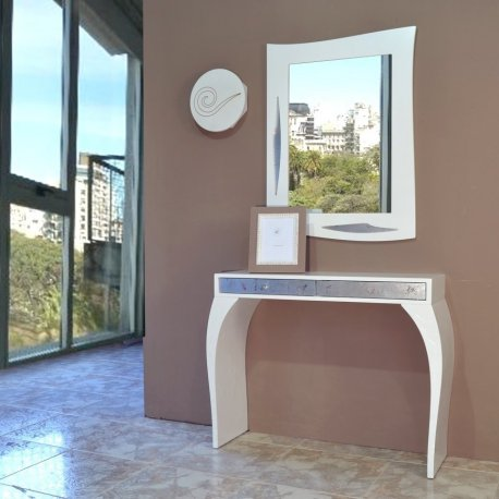 Mueble recibidor espejo blanco y plata emilio rubio for Mueble recibidor diseno