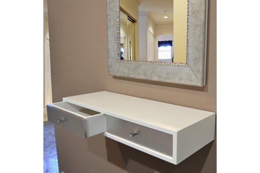 Repisa flotante blanca y cajones plata con espejo plata for Espejo plateado grande