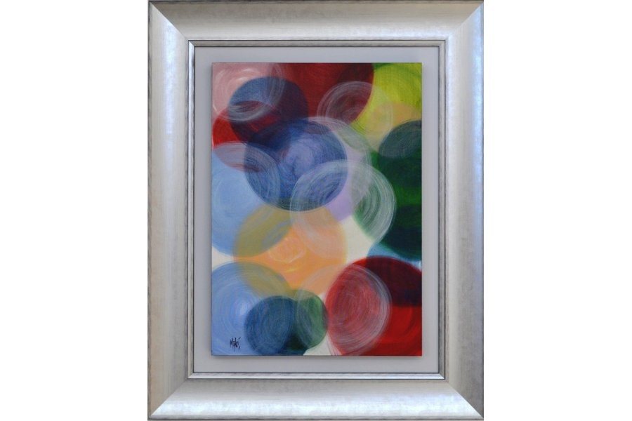 Cuadro circulos abstracto marco plata emilio rubio for Cuadros modernos plateados