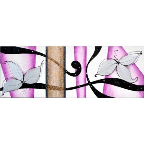 Cuadro Abstracto Con Flores Y Violeta Emilio Rubio