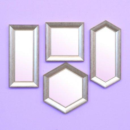 set espejos marco maderaplata rozada