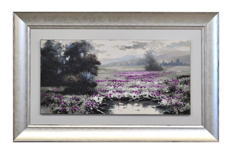 Set dos cuadros paisaje leo marco plata emilio rubio - Cuadros con marcos ...