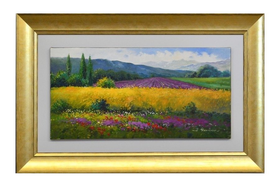 Set dos cuadros oleo paisaje marco oro emilio rubio Marcos de cuadros blancos