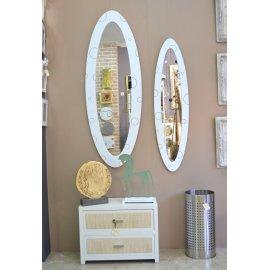 Espejo marco Ovalo Blanco Burbujas