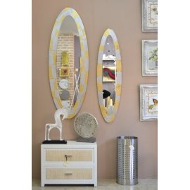 Espejo Ovalo Plata y Oro Cuarteados