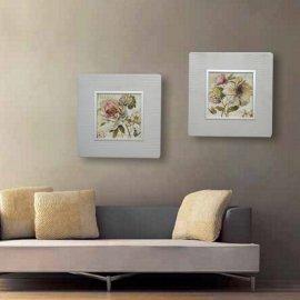Set dos cuadros Flor - Marco tono platino