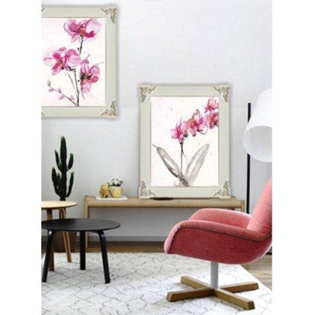 Dos cuadros con Orquídeas estilo Isabelino