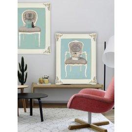 Dos cuadros con sillones Isabelinos