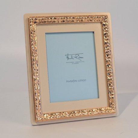 Portafotos Marfil-Oro y tallado