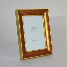 Portafotos madera policromada Oro-Rojo