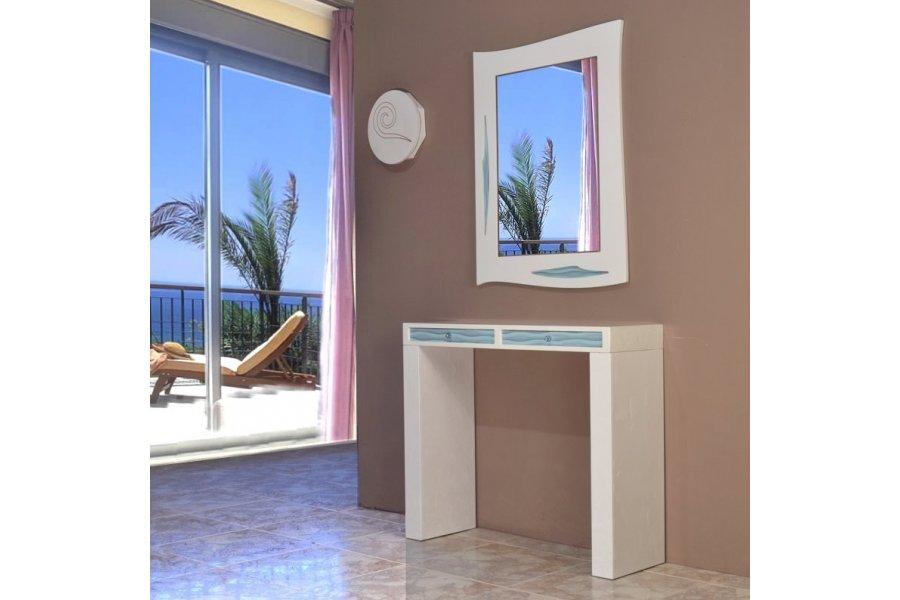 Mueble recibidor blanco y azul turquesa emilio rubio - Mueble consola recibidor ...
