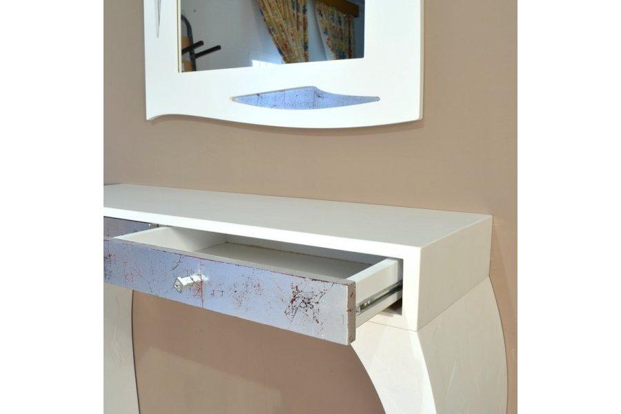 Mueble recibidor espejo blanco y plata emilio rubio for Mueble wengue y blanco