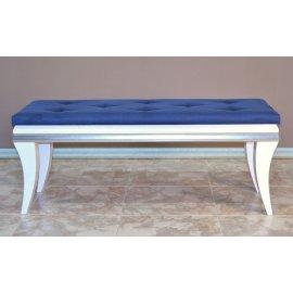 Pie de cama Blanco y Azul Tapizado Capitoné