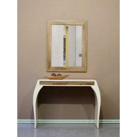 Mueble Recibidor consola Beige y Espejo Roble
