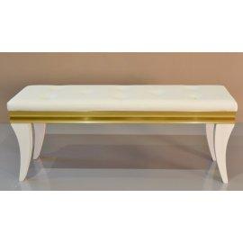 Banqueta Pie de cama Blanca y Dorada