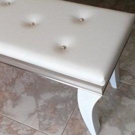 Banqueta dormitorio Plata y blanco Polipiel