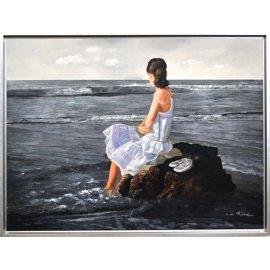 Cuadro paisaje marino con Chica