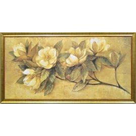 Cuadro clásico magnolias marco dorado