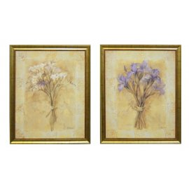 Dos cuadros Iris y Fresia. Marco dorado