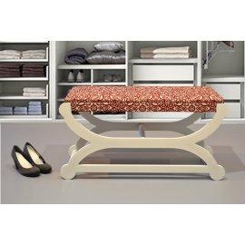 Pie de cama beige y rojo 90 cm.