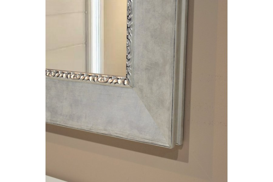 Repisa flotante blanca y cajones plata con espejo plata - Espejos marco plateado ...