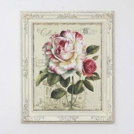 Cuadro Flor ROSA marco Isabelino Marfil 90x75