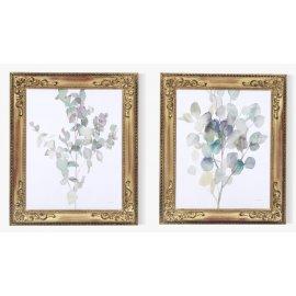 Pareja de cuadros floral con marco Isabelino Oro