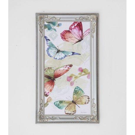 Cuadro Flores y mariposas marco Isabelino GrisPlata