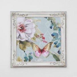 Cuadro Flores y mariposas marco Isabelino Blanco Dec