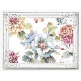 Cuadro Flores y mariposas marco Estilo Isabelino