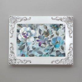 Cubre contador vintage con flores azules, blanco decapé