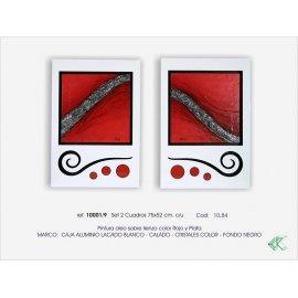 Set de dos cuadros Aluminio blanco y rojo