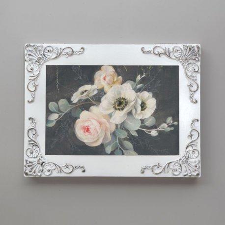 Cubre contador vintage con rosas, blanco decapé