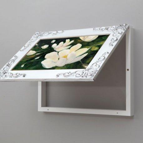 Cubre contador vintage magnolias, blanco decapé