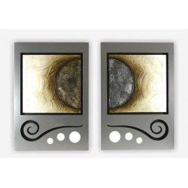Set dos cuadros aluminio y pintura nacar