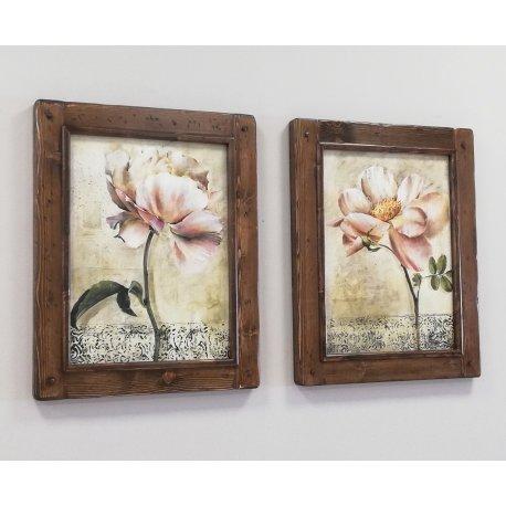 Dos cuadros flor con marco rústico