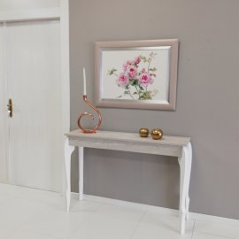 Mueble de entrada Fresno y blanco