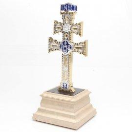 Cruz de Caravaca con Cristal Swarovski y Peana