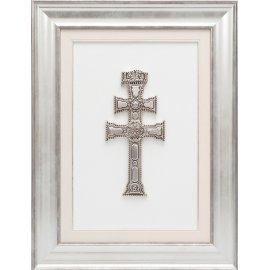 Cuadro Sta. Cruz de Caravaca Plata Vieja y marco Plateado