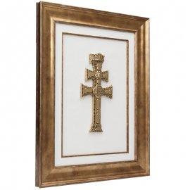 Cuadro Cruz de Caravaca dorada y marco dorado