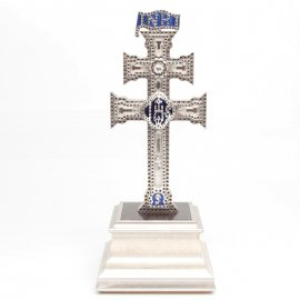 Cruz de Caravaca con Swarovski, Plata Vieja y Peana