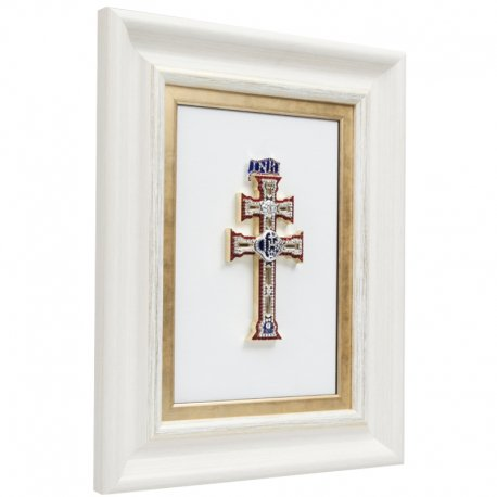 Cuadro con Cruz de Caravaca Pedrería marco Blanco
