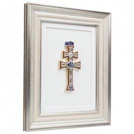 Cuadro con Cruz de Caravaca pedrería marco marfil-plata